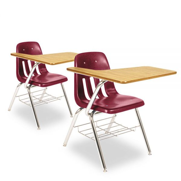 9700 Classic Series Chair Desk, Wine, Medium Oak Laminate Top, 2/Ctn
