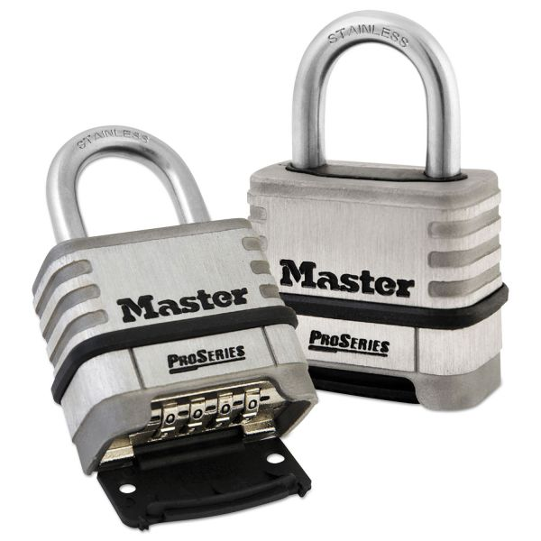 """Master Lock ProSeries Stainless Steel Easy-to-Set Combination Lock, Stainless Steel, 5/16"""""""