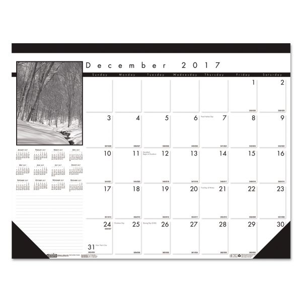 House of Doolittle Black on White Monthly Desk Pad Calendar