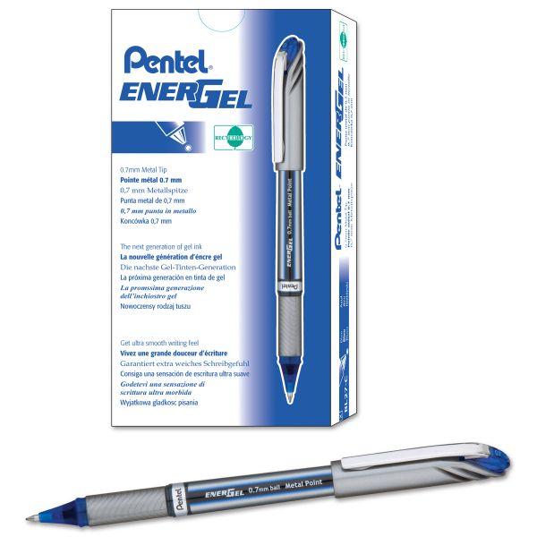 Pentel EnerGel NV Liquid Gel Pen, .7mm, Blue Barrel, Blue Ink, Dozen