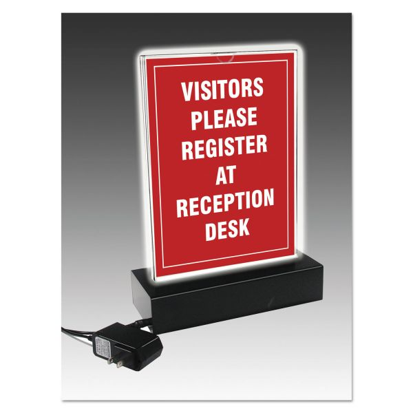 NuDell LED Lighted T-Sign, 11 1/2 x 14, Clear