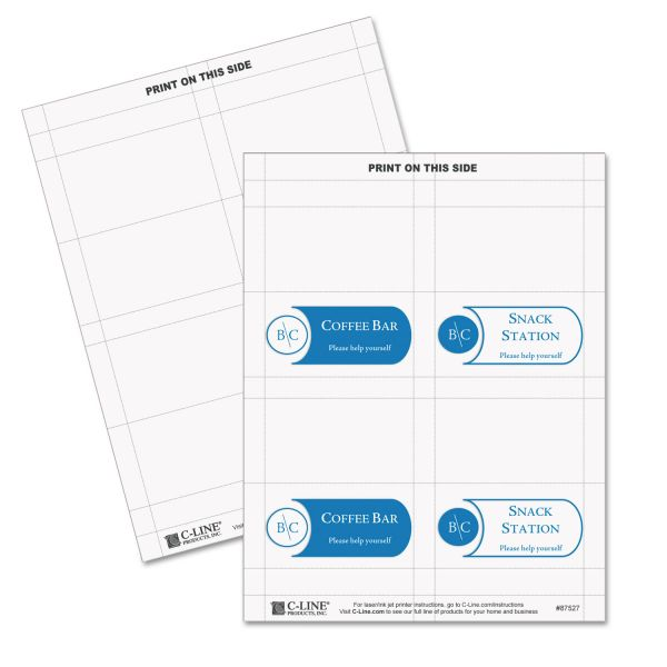 C-Line Scored Tent Cards, White Cardstock, 3 1/2 x 2, 4/sheet, 40 sheets/BX