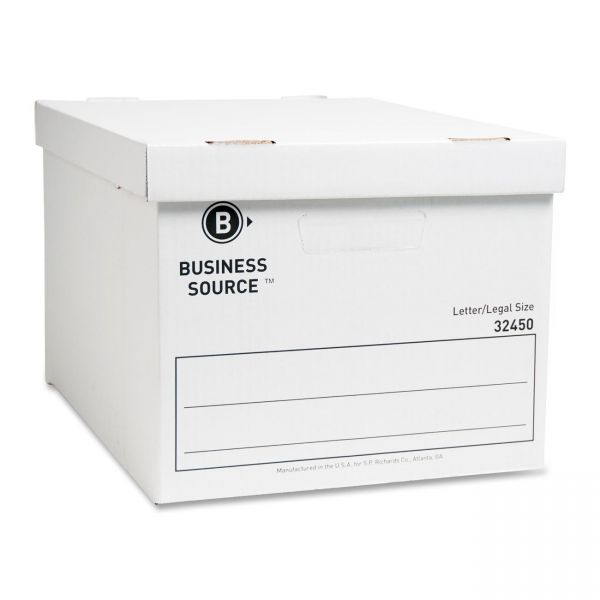 Business Source Medium-Duty Storage Boxes With Lift-Off Lids