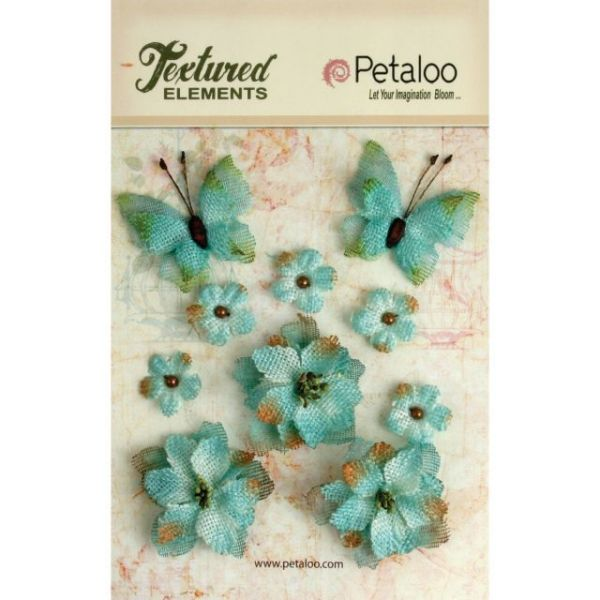Textured Elements Burlap Flowers/Butterflies 10/Pkg