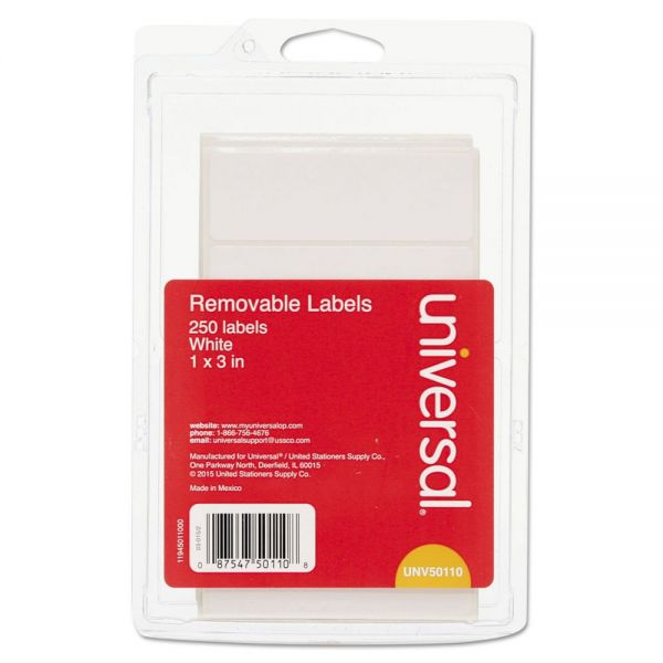 Universal Removable Self-Adhesive Multi-Use Labels, 1 x 3, White, 250/Pack