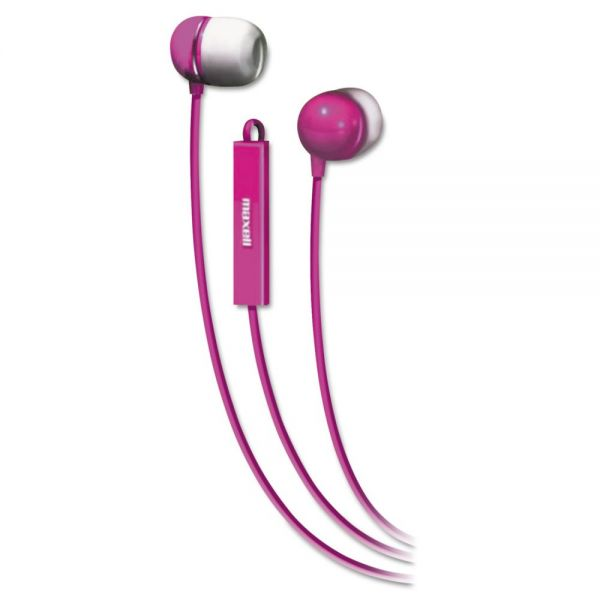 Maxell In-Ear Buds with Built-in Microphone, Pink