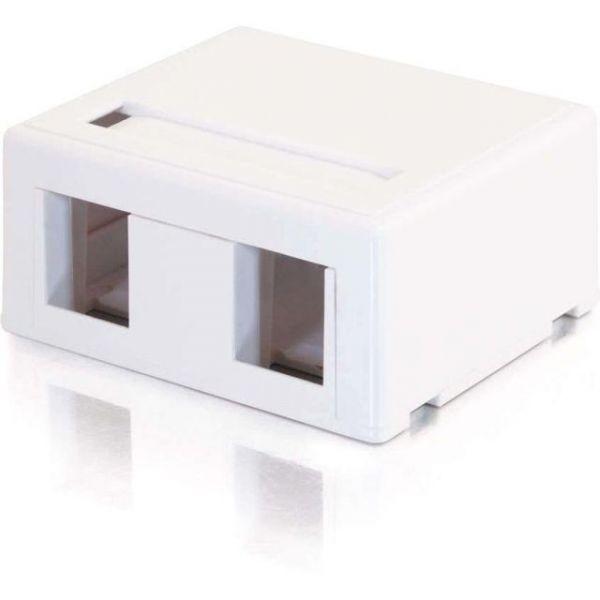 C2G 2-Port Keystone Jack Surface Mount Box - White