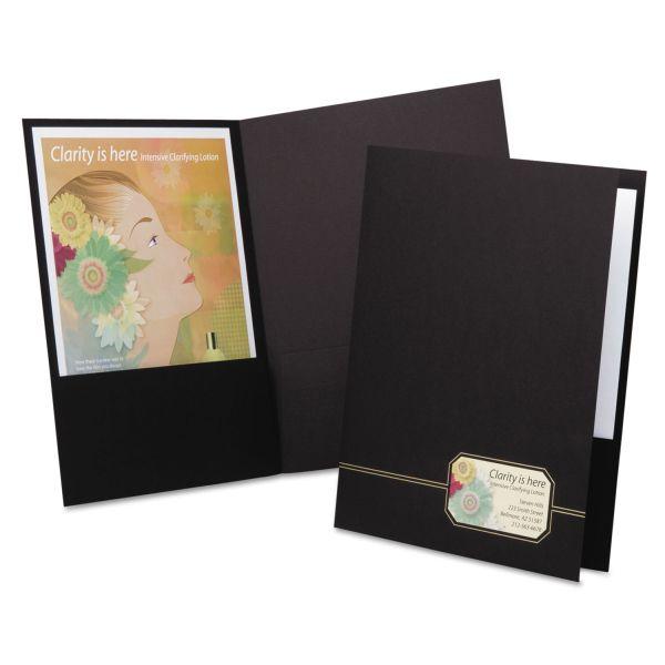 Oxford Monogram Series Business Portfolio, Premium Cover Stock, Black/Gold, 4/Pack