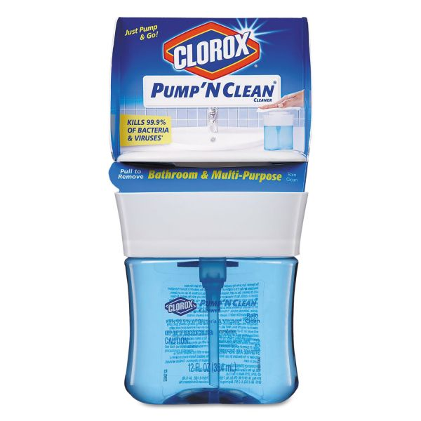 Clorox Pump 'N Clean Bathroom  & Multi-Purpose Cleaner, Rain Clean, 12 oz Pump, 6/CT