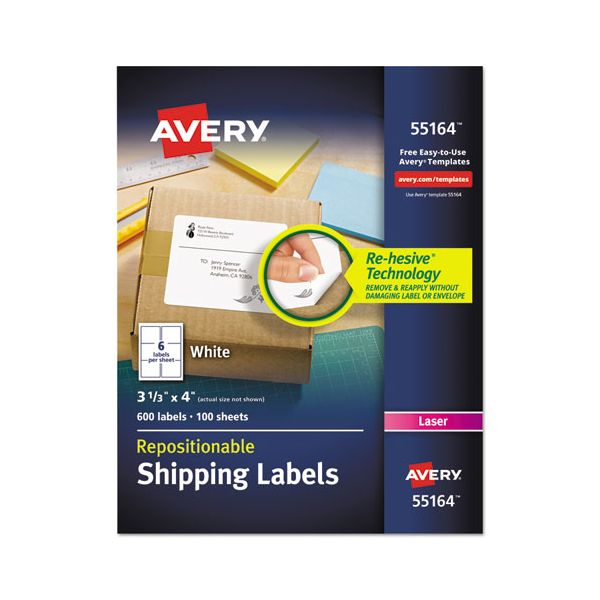 Avery Repositionable Shipping Labels, Inkjet/Laser, 3 1/3 x 4, White, 600/Box