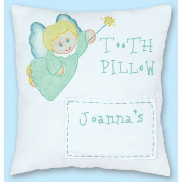 "Stamped Tooth Fairy Pillow Cover 8""X8"""
