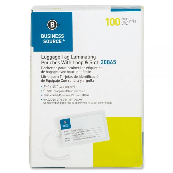 Business Source Luggage Tag Laminating Pouches