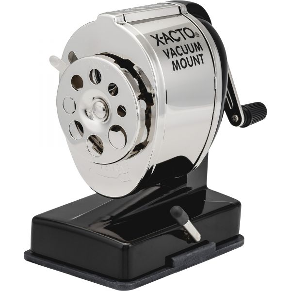 X-ACTO KS Manual Vacuum Mount Classroom Pencil Sharpener, Black/Nickel-plated