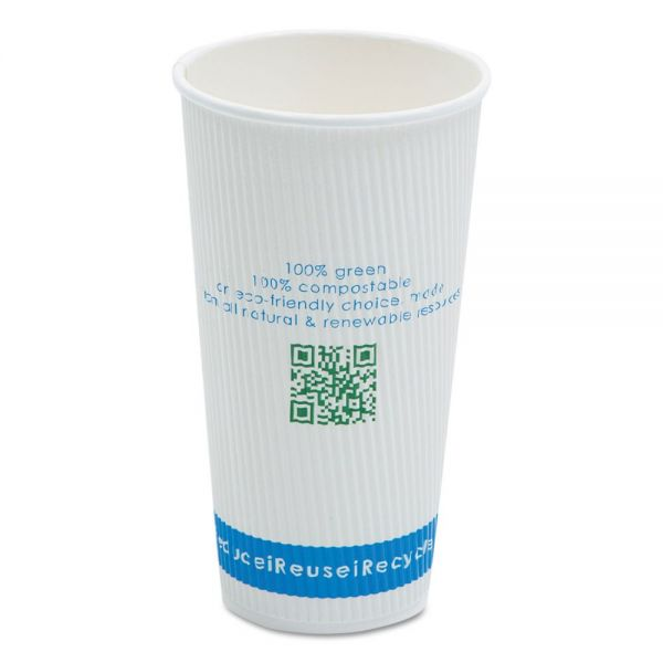 NatureHouse Compostable Insulated Ripple-Grip 20 oz Coffee Cups