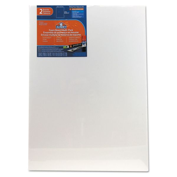 Elmer's White Pre-Cut Foam Board Multi-Packs, 18 x 24, 2/PK