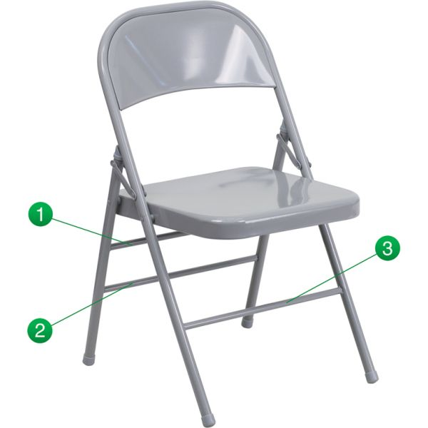 Flash Furniture HERCULES Series Triple Braced & Quad Hinged Gray Metal Folding Chair [HF3-MC-309AS-GY-GG]