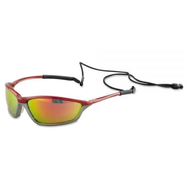 MCR Safety Shock Protective Eyewear, Crimson and Stone, Fire-Mirror