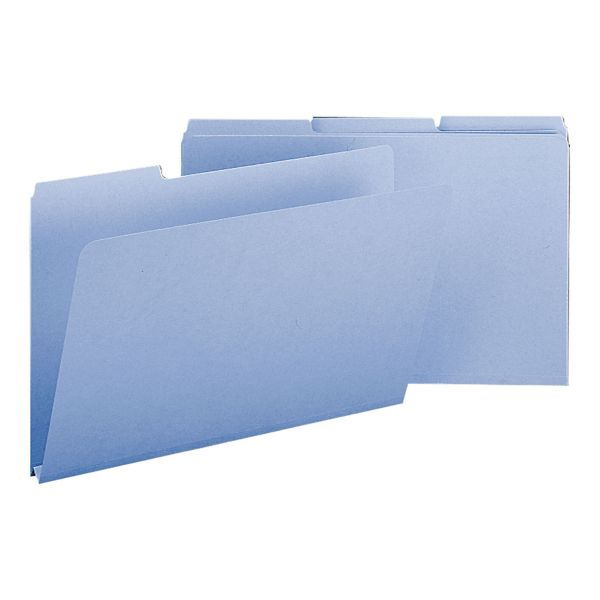 Smead Recycled Folders, One Inch Expansion, 1/3 Cut Top Tab, Legal, Blue, 25/Box