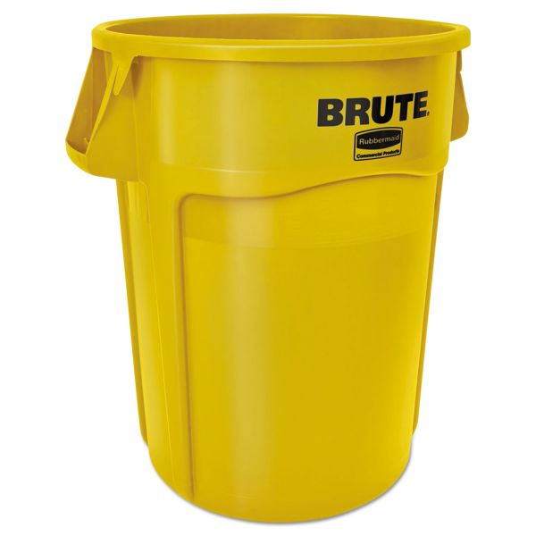 Rubbermaid Commercial Round Brute Container, Plastic, 55 gal, Yellow, 3/Carton