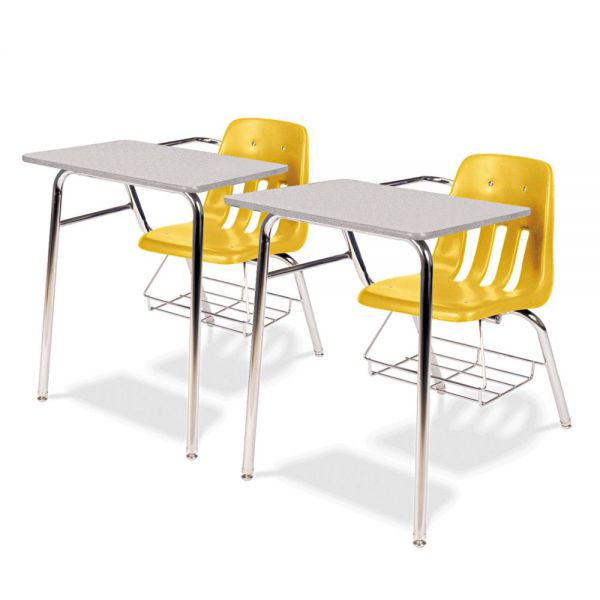 9400 Classic Series Chair Desks, Squash, Gray Nebula Laminate Top, 2/Ctn