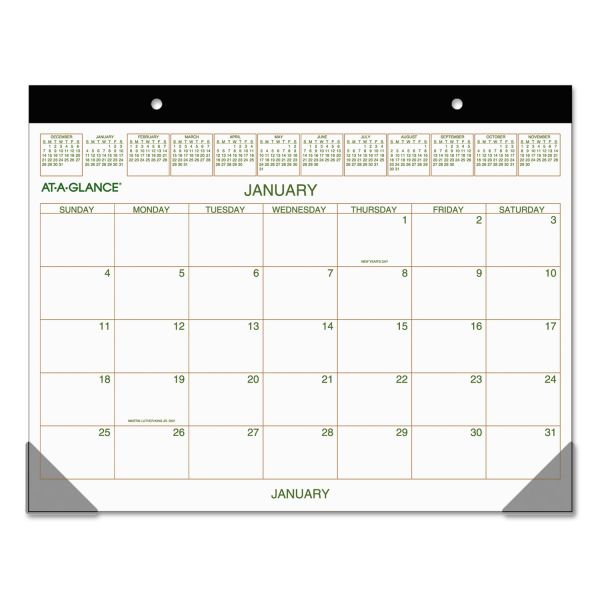 AT-A-GLANCE Two-Color Desk Pad, 22 x 17, 2019