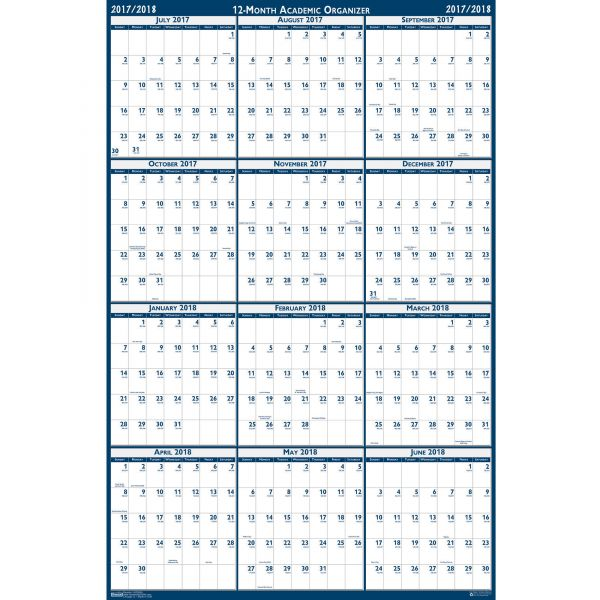 House of Doolittle Laminated Yearly Academic Wall Calendar