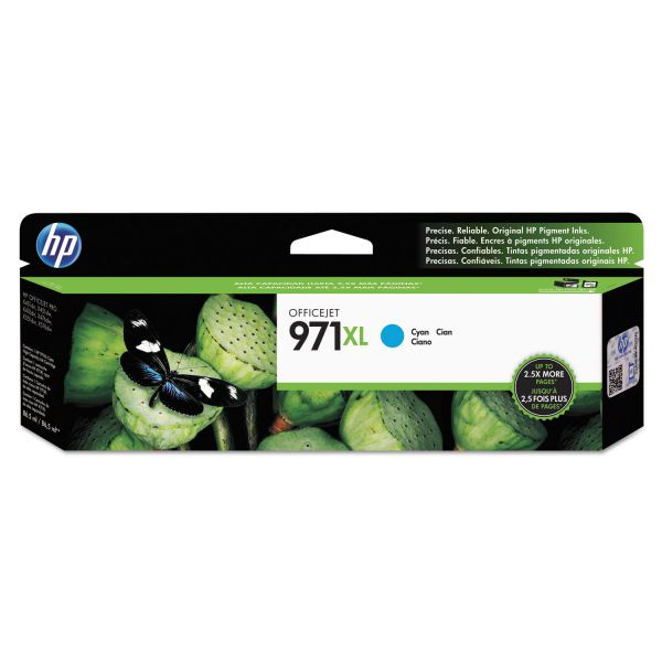 HP 971XL High-Yield Cyan Ink Cartridge (CN626AM)