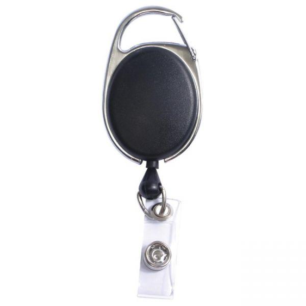 SICURIX Quick Clip ID Badge Reels Oval Strap BLACK (Pack of 12) (68754)