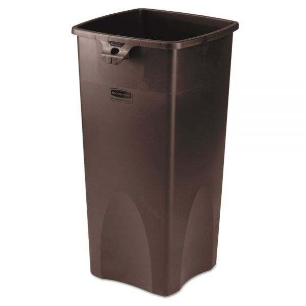 Rubbermaid Commercial Untouchable Waste Container, Square, Plastic, 23gal, Brown