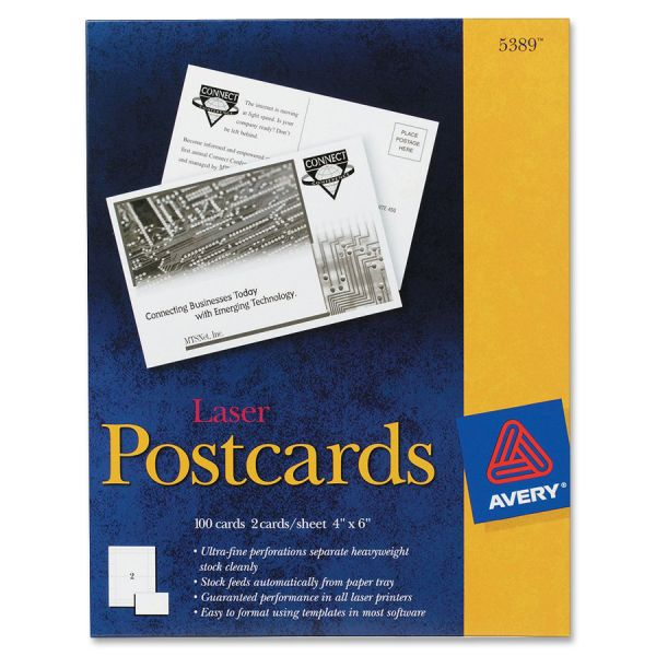 Avery Postcards for Laser Printers, 4 x 6, Uncoated White, 2/Sheet, 100/Box