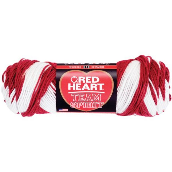 Red Heart Team Spirit Yarn - Burgundy/White