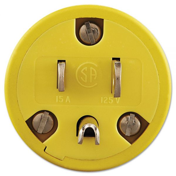 Daniel Woodhead Super-Safeway Male-End Replacement Plug, NEMA 5 15, Rubber, Yellow