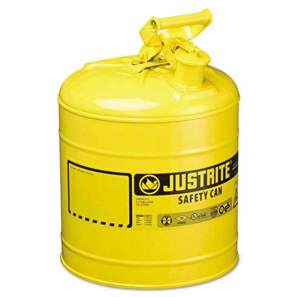 JUSTRITE Safety Can, Type I, 5gal, Yellow