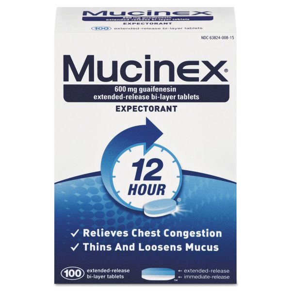 Mucinex Expectorant Regular Strength, 100 Tablets/Box