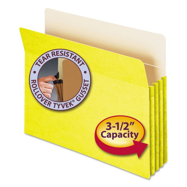"""Smead 3 1/2"""" Exp Colored File Pocket, Straight Tab, Letter, Yellow"""
