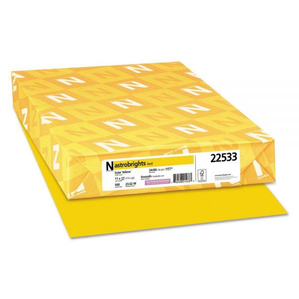 Astrobrights Color Paper, 24 lb, 11 x 17, Solar Yellow, 500 Sheets/Ream