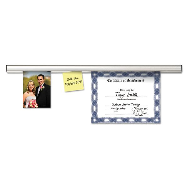 "Advantus Grip-A-Strip Display Rail, 96"" Long, 1 1/2"" High, Satin Aluminum Finish"