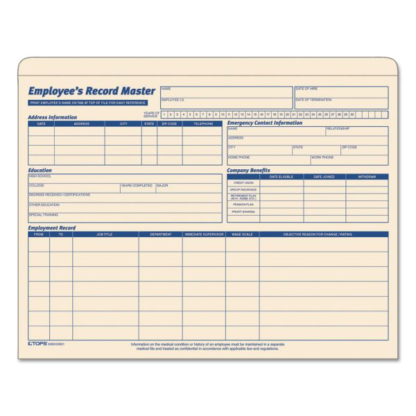 TOPS Employee Record Master File Jacket, 9 1/2 x 11 3/4, 10 Point Manila, 20/Pack