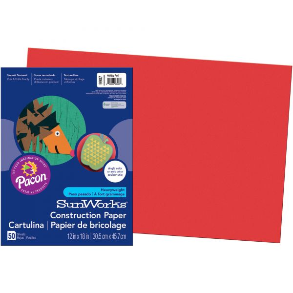 SunWorks Construction Paper, 58 lbs., 12 x 18, Holiday Red, 50 Sheets/Pack