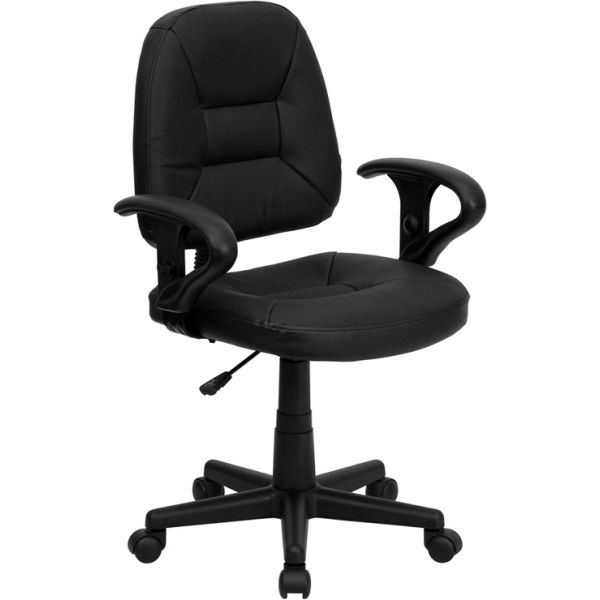 Flash Furniture Mid-Back Leather Ergonomic Task Chair with Height Adjustable Arms