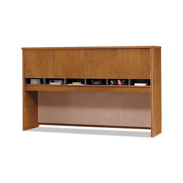 Bush Furniture Series C Hutch with 4 Doors, 71w x 15-3/8d x 43h, Natural Cherry