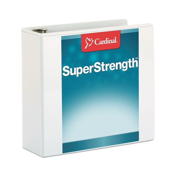 "Cardinal SuperStrength ClearVue Locking 3-Ring View Binder, 3"" Capacity, Slant-D Ring, White"