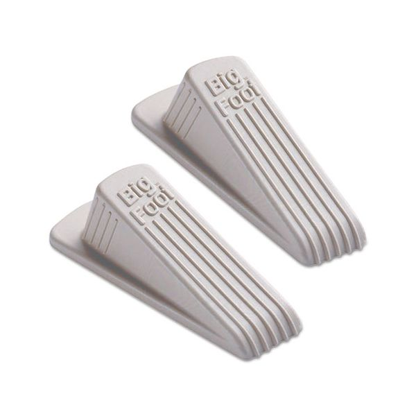 Master Caster Big Foot Doorstop, No Slip Rubber Wedge, 2 1/4w x 4 3/4d x 1 1/4h, Beige, 2/Pack