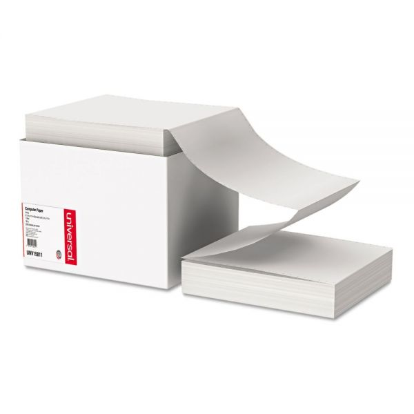 Universal Computer Paper, 18lb, 9-1/2 x 11, Letter Trim Perforations, White, 2300 Sheets