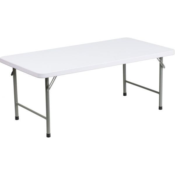 Flash Furniture 24''W x 48''L x 19''H Kid's Granite White Plastic Folding Table