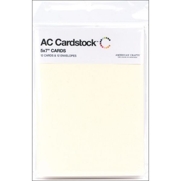 "American Crafts A7 Cards & Envelopes (5.25""X7.25"") 12/Pkg"
