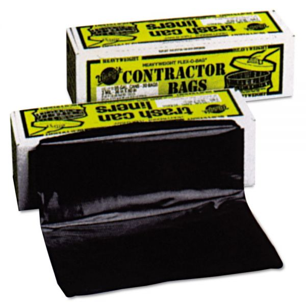 Warp's Heavyweight Contractor Bags, 35 x 56, 55gal, 3mil, Black, 30/Box
