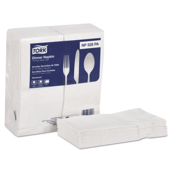 Tork Advanced White Dinner Fold Napkins