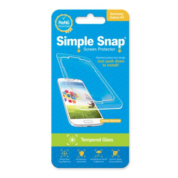 ReVamp Simple Snap Screen Protector (Samsung Galaxy S4) (Tempered Glass) Transparent