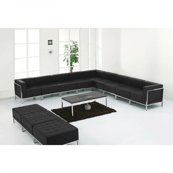 Flash Furniture HERCULES Imagination Series Black Leather Sectional & Ottoman Set, 12 Pieces